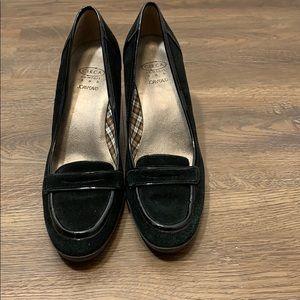 Joan & David Suede and patent block heels Blk sz 8